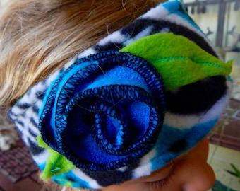 Blue Rose Fleece Headband