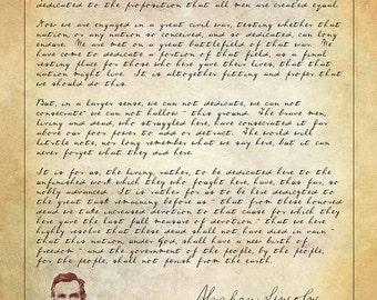 Abraham Lincoln - Gettysburg Address Print - Famous Speeches Wall Art - Vintage Wall Art Print - Civil War Speech - Americana