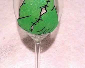 Oogie Boogie - Glitter Wine Glass