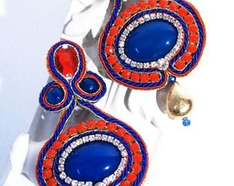 Red Blue Gold Soutache Earrings