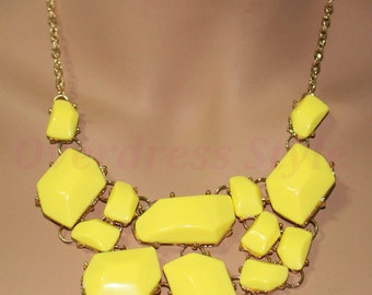 Yellow Bubble Bib Geometric Fashion Statement Gemstone Necklace