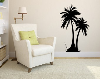 palm tree decal etsy. Black Bedroom Furniture Sets. Home Design Ideas