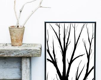 Abstract Trees, Tree print, Scandinavian Trees, Branches,  Scandinavian Art, Minimalist Poster, Giclee print, Abstract Wall Art , Art Print