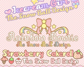 Snowball Design:Cute girly kawaii Rainbow Bowknot strawberry cakeroll Icecream photography premade logo watermark