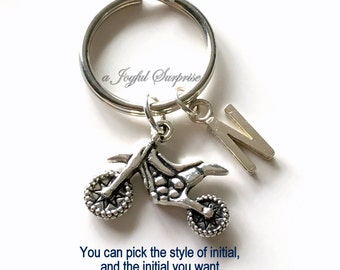 Dirt Bike Keychain, Motorcycle Keyring Small Minibike KeyChain Motorcross Key chain Personalized Initial birthday present Christmas Gift boy