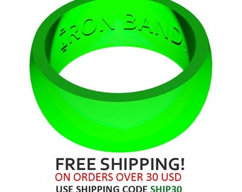 Iron Band Silicone Wedding Ring For An Active Lifestyle - Lime Green