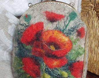 "Felted wool bag-Felted wool purse-Felt bag-Felted purse-Felt handbag-OOAK bag ""Poppies on a light background"""