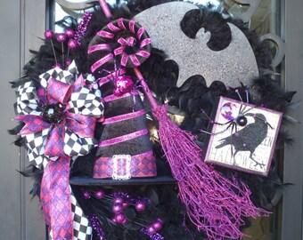 Halloween Witch Wreath,Feather wreath,Halloween wreath,Witch wreath,Witch hat wreath,Raven wreath,Black and purple wreath,Bat wreath,feather