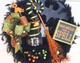 Halloween Witch Wreath, Halloween wreath, witch hat wreath, feather wreath, orange and green wreath, Bat wreath, spell wreath, cat wreath,