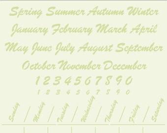 """Calendar Stencil, 12"""" x 12"""""""