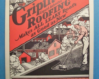 """The ADAMS PAINT Co. GRIPTITE Roofing Liquid Absbestos 8.5"""" x 11.4"""" advertising page"""