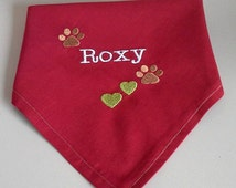 Personalised, embroidered, Dog bandana, paw prints and hearts, Dog accessories, Dog Clothes