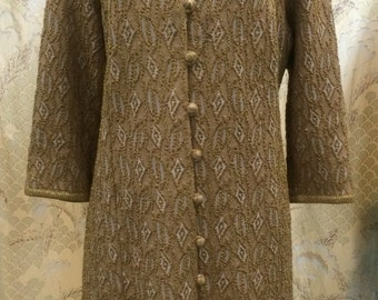 Vintage 1950s Gold button-down dress