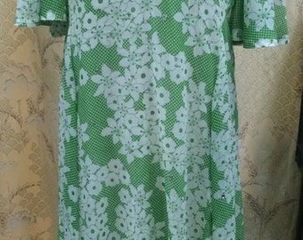 1970s Green and Whie Maxi Dress with Rhinestones/Size Large/Hippie Dress/Boho Dress