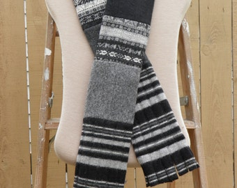 Felted Wool Scarf-black and grey