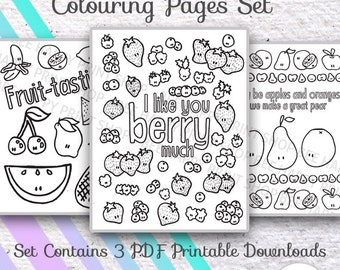 Set of three (3) - PDF PRINTABLES colouring/coloring page sheets - Cute Fruits - Berries, Pear, Apple, Orange, Cherry - for kids or adults