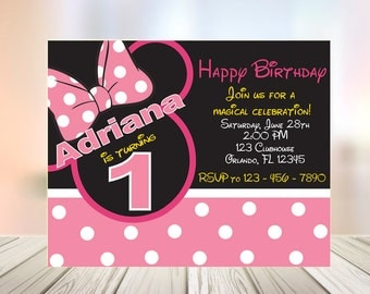 Minnie Mouse Invitation, Minnie Mouse Birthday, Minnie Mouse Birthday Invitation, Disney Invitations, Disney Princess Invitations