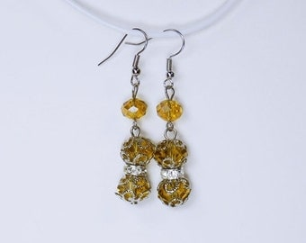 Earrings with yellow glass beads and Silver earrings