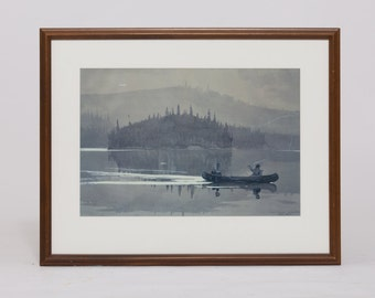 Framed Polaroid Replica - Two Men In a Canoe