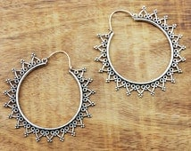 Large Hoop Earrings, Gypsy Earrings, Silver Hoop Earrings, Tribal Earrings, Belly Dance Earrings, Boho Earrings, Indian Earrings