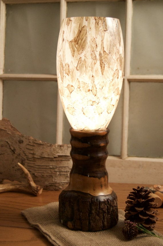 Items similar to rustic lamp walnut bark on lamp base for River rock lamp
