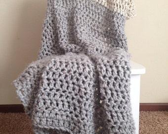 Knit Crochet Chunky Blanket Throw Afghan >> THE ELCHO << Grey Marble / Wheat