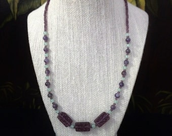 Purple Amethyst and Green Aventurine Necklace.