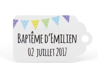 10 labels 2.4 x 4 cm, yellow-green-blue, custom flags for your wedding or baptism dragees
