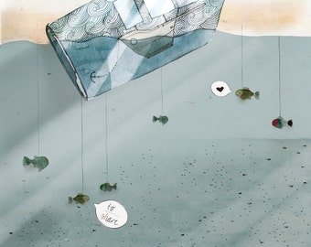 "Bottle Strom / A4 (8""x11"") Print, Artprint, Ocean, Sea, Message, Fish"