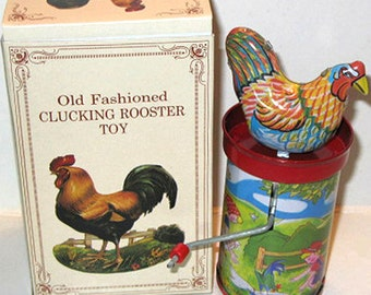 Vintage Tin Litho Chicken Rooster Hand Crank Toy Noise Maker Party Favor NOS New in Box We ship Worldwide