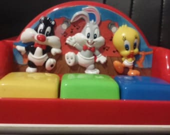 Vintage 1995 Tycos WARNER BROS Baby Sylvestor, Bugs and Tweety Musical Toy
