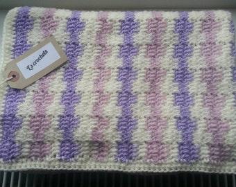 Crochet cream pink violet newborn baby blanket wrap throw