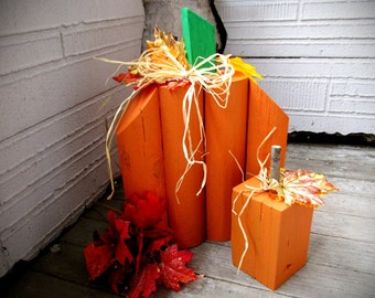 Primitive Wood Pumpkin - Paneled Pumkins -Fall Wood Blocks - Fall Decoration Harvest