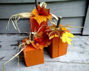Wood Block Pumpkin - Fall Harvest Decor