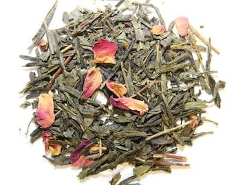 CHERRY BLOSSOM - Organic loose tea, luxury loose leaf green tea, Sencha cherry rose tea