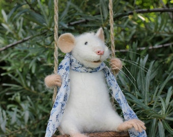 Swinging Mouse, Needle Felted Mouse, White Mouse, Soft Sculpture, Needle Felted Animal, Cute Felt, Eco Toy, Art Doll .