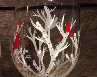 Cardinal Wine glass, white birch tree wine glasses