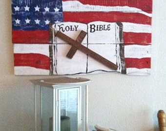 Red White and Blue - Americana Signs - Cross Sign - Bible Wall Art - God and Country - God and Country Sign - Birthday Gift - Pastor Gift