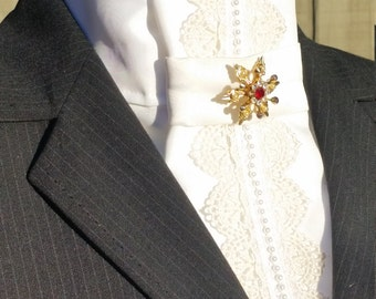 Lace and Pearl Show White Stock Tie by Equestrian Lounge
