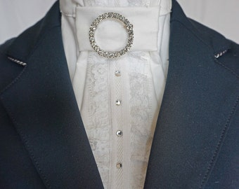 Lace and Bling Show White Stock Tie by Equestrian Lounge