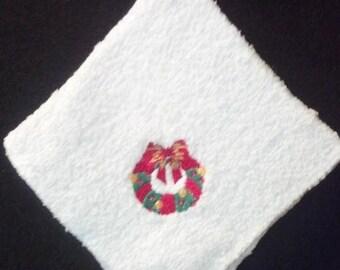 Holiday Wreath Washcloth Set of 4