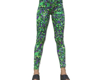 Psychedelic leggings, Lime Mayan. All over printed leggings / tights. Hand-printed, UV active, trippy, trancewear, yoga leggings, Hippie