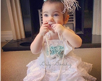 Flower girl dress White Boho Lace Birthday Party Christening Baptism