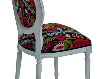 sedia luigi XVI  chair louis XVI  padded  upholster  fabric suzani shabby chic french style Polsterstuhl Stoff suzani baroque barock VINTAGE