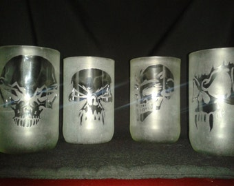 Mixer Bottle Engravings 'Hallowe'en Skulls' Set of 4