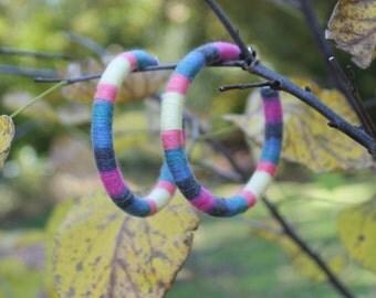 Light Multi Colored Cotton Earrings