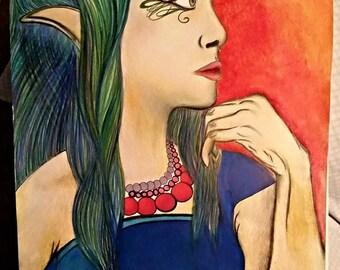 Fantasy Elf or Fairy, Fantasy Art, Original Drawing
