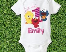 Sesame Street, 1st Birthday, Baby Girl Elmo, First Birthday Onesie 1st Birthday Shirt, Personalized GiRLS Birthday, Big Bird, Cookie Monster