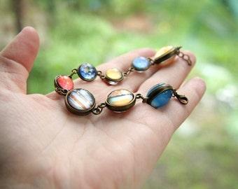 Double sided Planet bracelet, bracelet with planets, solar system bracelet, solar system jewelry, galaxy bracelet, nebula bracelet