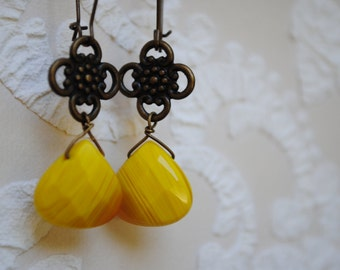 Earrings drop yellow